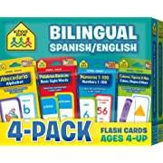 School Zone - Bilingual Spanish/English Flash Card 4-Pack - Ages 4 and Up, Bilingual Sight Words, Bilingual Numbers 1-100, Bilingual Colors, and More (Flash Card 4-pk) (English and Spanish Edition)