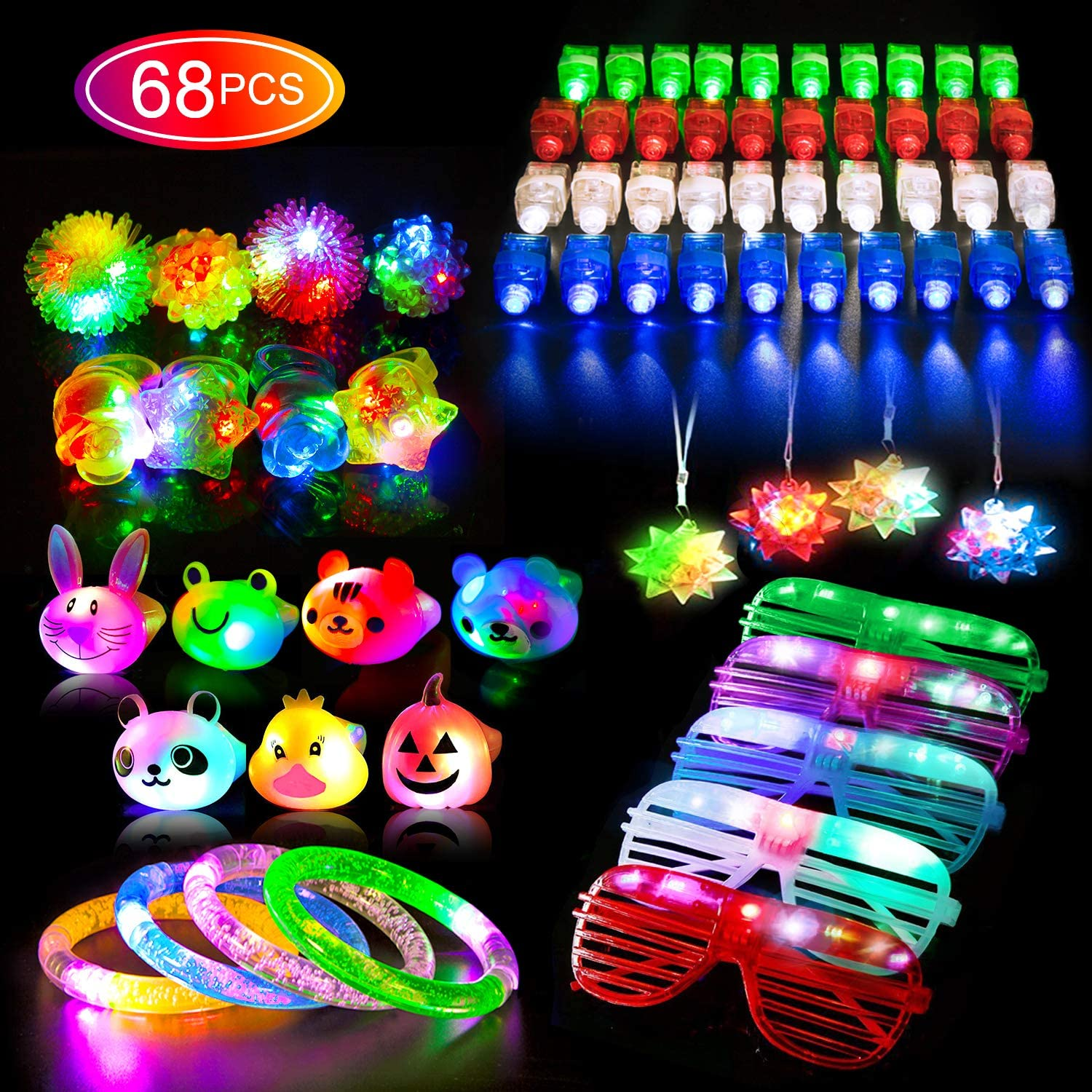 68PCS LED Light Up Toys Party Favors for Kids/Adults, Glow in the Dark Party Supplies include 40 Finger Lights, 8 Jelly Rings, 7 Light Up Animals Rings, 5 Led Glasses, 4 Bracelets, 4 Led Crystal Necklaces