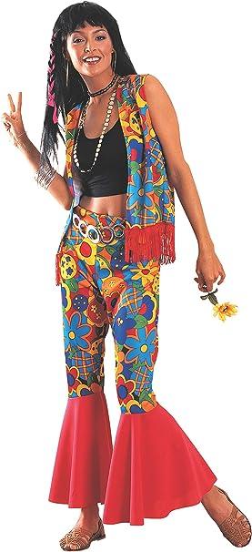 Disfraz de Hippie para adultos (mujer), ropa colorida con flores ...