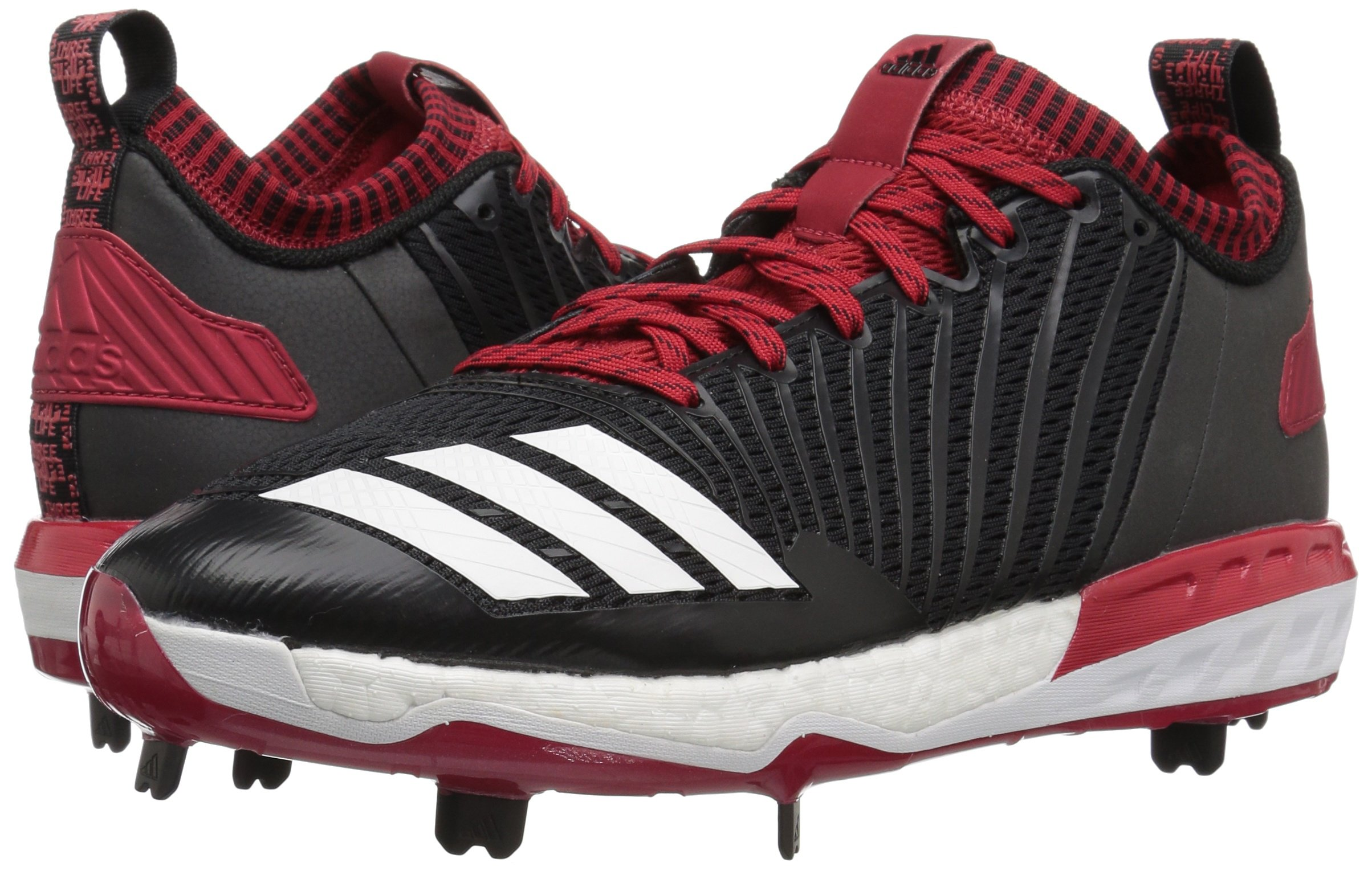 adidas Men's Freak X Carbon Mid Baseball Shoe, Black/White/Power RED, 7.5 Medium US by adidas (Image #6)