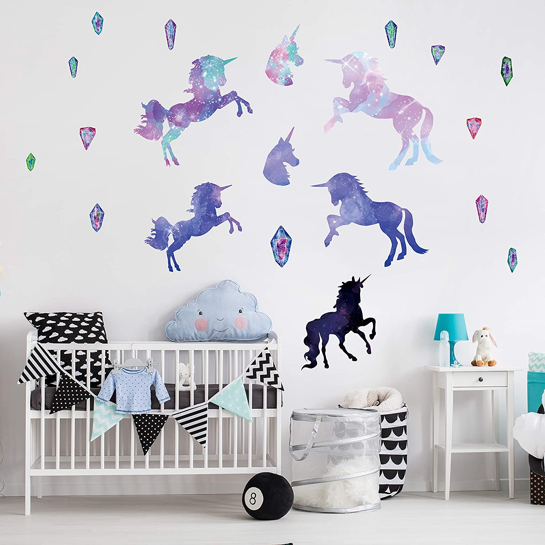 Unicorn Wall Decals,Unicorn Wall Sticker Decor with Heart Flower Birthday Christmas Gifts for Boys Girls Kids Bedroom Decor Nursery Room Home Decor A-Unicorn 2 Pack Unicorn