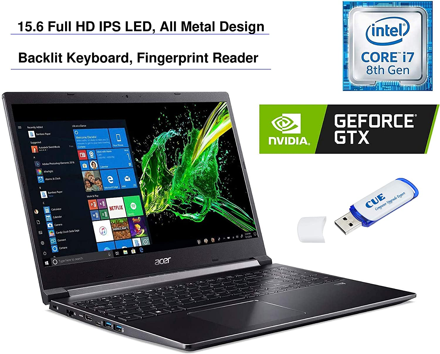 "2020 Acer Aspire 7 15.6"" FHD Display Laptop Computer, Intel Core i7-9750H, GeForce GTX 1050 3GB, 32GB RAM, 2TB HDD + 2TB SSD, Backlit Keyboard, Fingerprint Reader, Windows 10, Balck, 32GB USB Card"