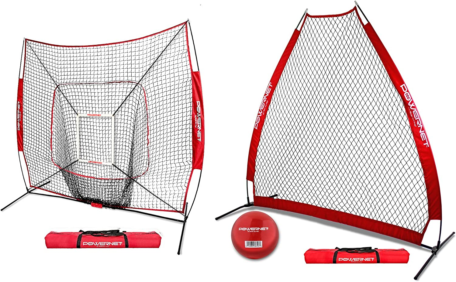 PowerNet 7×7 DLX Net and Portable Pitching A-Frame Screen Bundle Baseball Pitching Protection Weighted Training Ball Instant Pitcher Protection from Line Drives Grounders Backstop