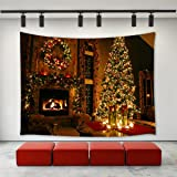 LBKT Christmas Eve Tapestry Wall hanging Happy New Year Custom Xmas Merry Christmas Fireplace Pattern Tapestries Wall Decor Art Home Decoration for Bedroom Living Room Dorm Decor