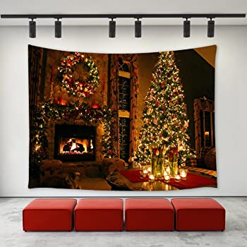 lbkt christmas eve tapestry wall hanging happy new year custom xmas merry christmas fireplace pattern tapestries wall decor art home decoration for bedroom - Fireplace Christmas Decorations Amazon