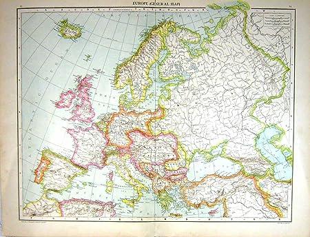 Mapa Antiguo C1893 Europa Gran Bretaña Francia España Cerdeña Bulgaria Italia: Amazon.es: Hogar