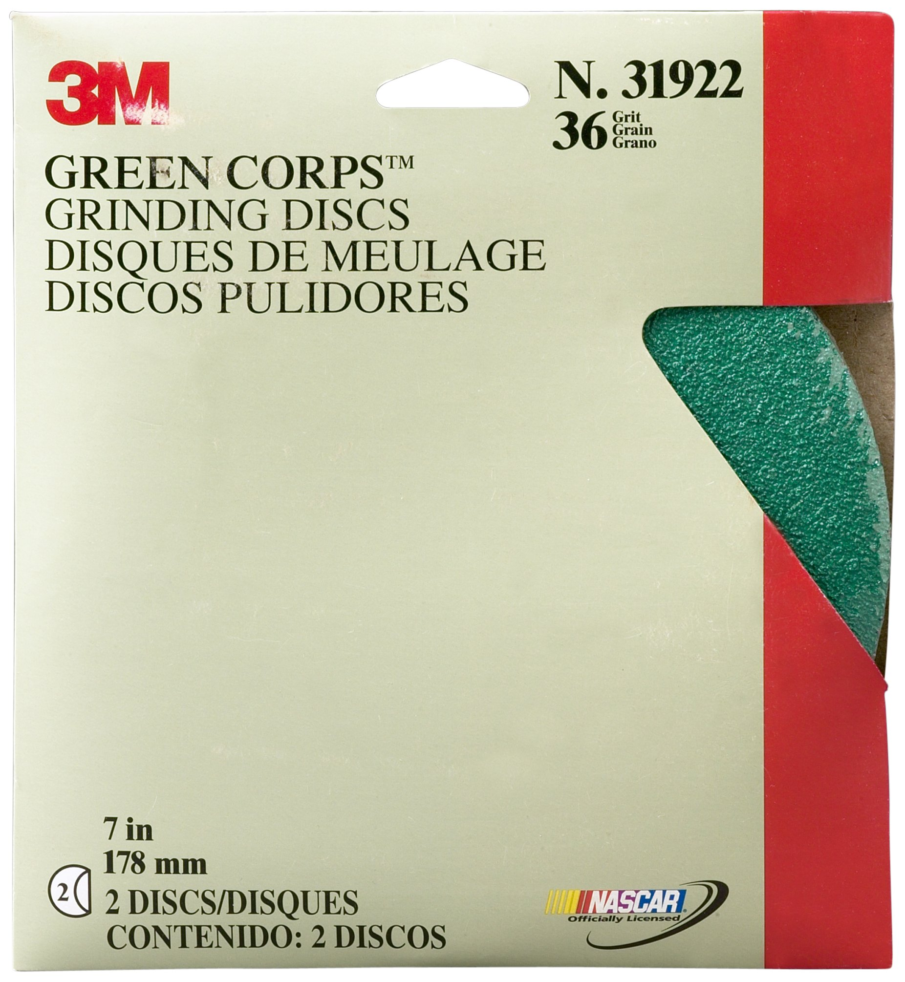 3M 31922 Green Corps 7'' x 7/8'' 36 Grade Grinding Disc (Pack of 10)