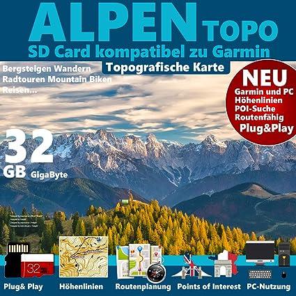 gps karte deutschland ☆ALPEN Garmin Karte OutdoorTopo auf 32 GB microSD. Deutschland