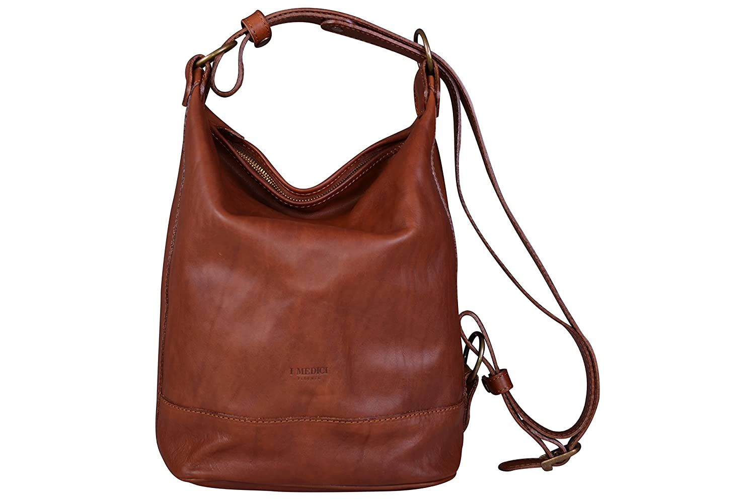 I Medici Firenze Large Genuine Italian Brown Leather Bucket Bag ... f1b00195d95fb