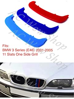compatible with B M W 3 Series E90 E91 2008-2012 12 BARS Bonnet Hood Radiator Grill Stripes Slat Covers Inserts Trim Clips M Power Sport Performance Tech Paket Colour Grilles Badge