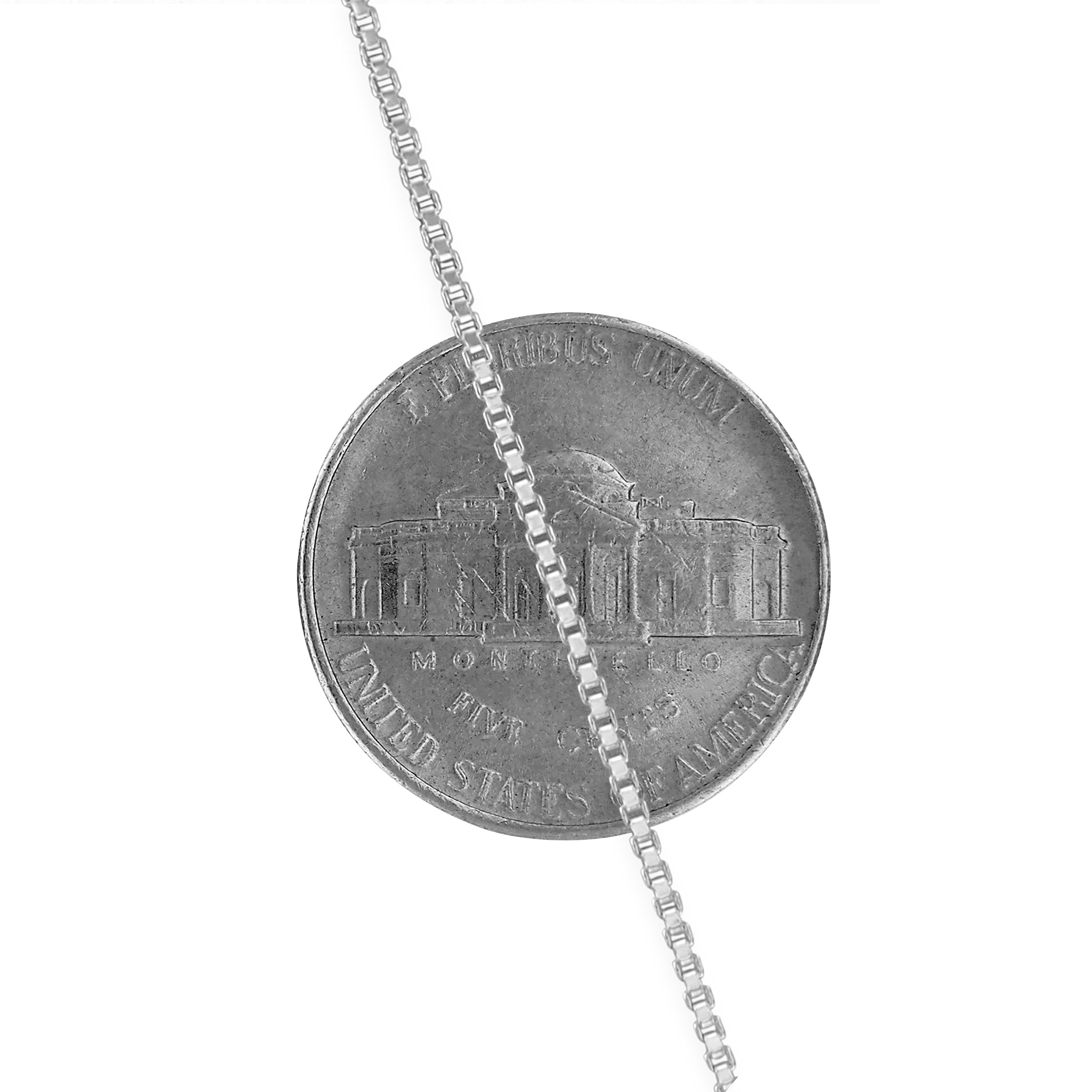 Sterling Silver 1.3mm Box Chain Necklace Solid Italian Nickel-Free, 18 Inch