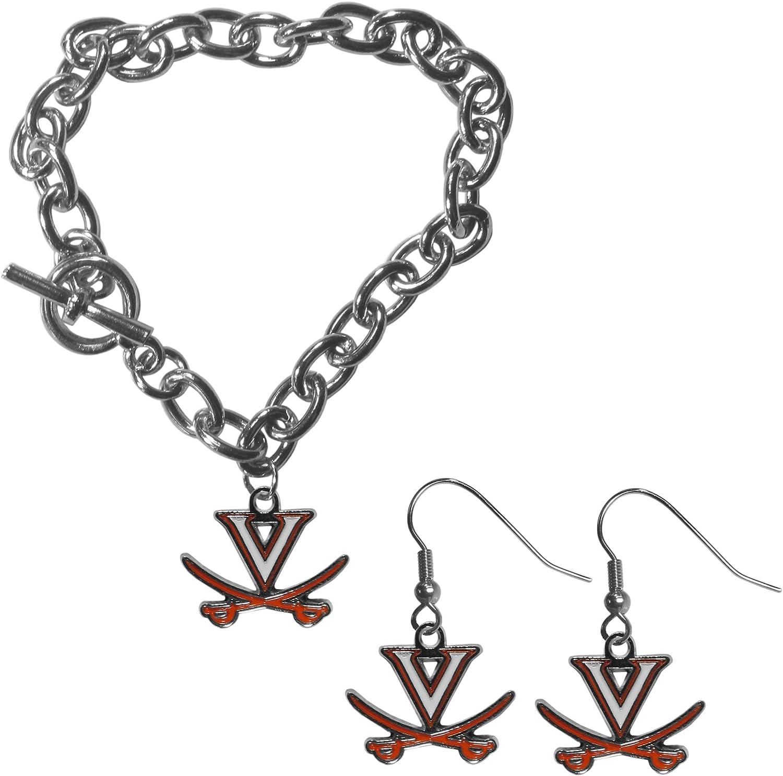 NCAA Siskiyou Sports Womens Virginia Cavaliers Chain Bracelet and Dangle Earring Set One Size Team Color