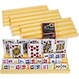 Plastic Trays / Racks for Dominoes OR Playing Card _ Dual Use _ Set of 4 _ Bonus 1 Deck of Ace 100% High Quality Plastic Playing Cards (Random backing color of Red or Blue)