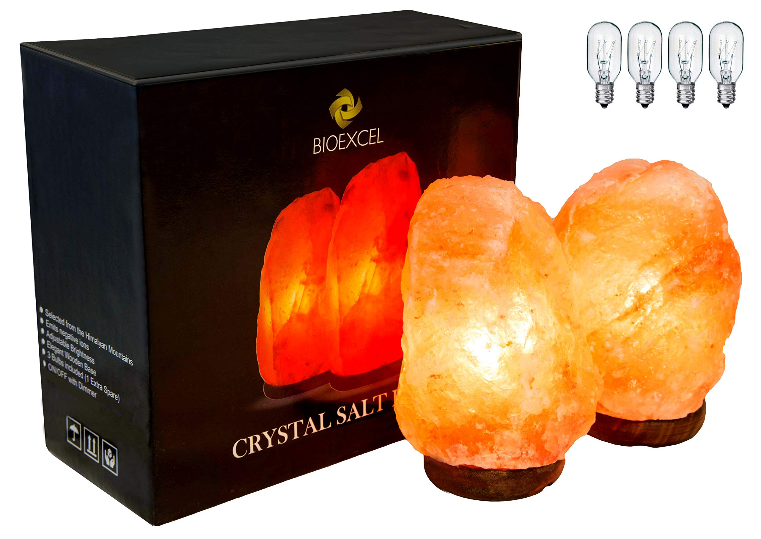Bioexcel Pack of 2 Natural Himalayan Salt Lamp with Dimmer – Crystal Night Light Pink Salt Lamp Wood Base Hand Carved - Home Décor Table lamps | 4 lbs - 4 Bulbs 15 Watts Included With UL-Listed Cord