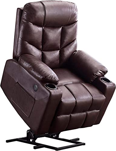Mcombo Electric Power Lift Recliner Chair Sofa for Elderly, 3 Positions, 2 Side Pockets and Cup Holders, USB Ports, Faux Leather 7288 Dark Brown