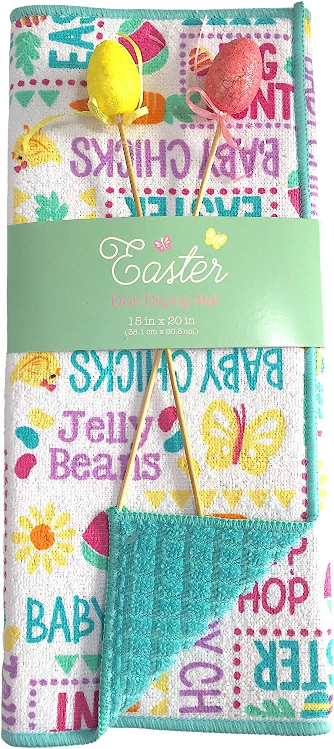Amazon Com Holiday Easter Dish Drying Mat Hoppy Spring Sayings