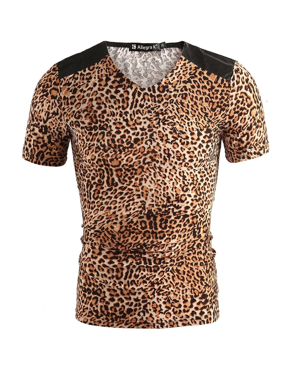 Allegra K Men Short Sleeve Round Neck Leopard Print T Shirt