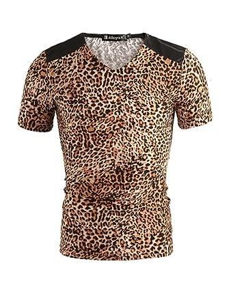 17ec0944a145 uxcell Men Leopard Print V Neck T Shirt Short Sleeve Shoulder PU Panel T- Shirt
