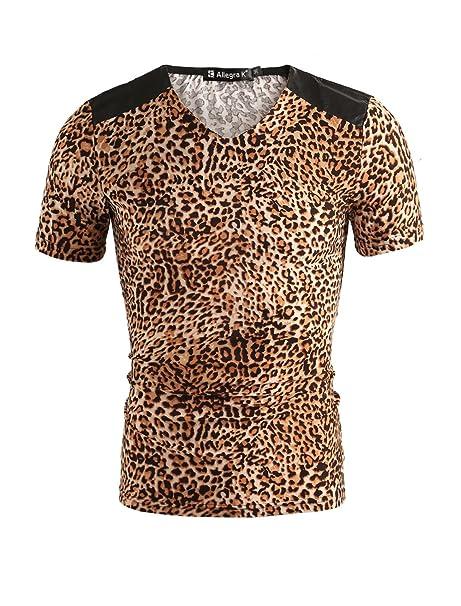 00acbb00a0 Amazon.com  uxcell Men Leopard Print V Neck Shoulder PU Panel T-Shirt   Clothing
