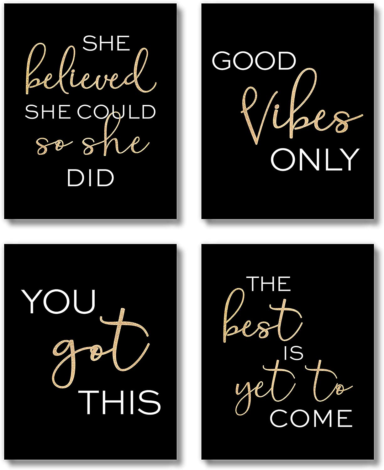Brooke & Vine Women Office Black and Gold Inspirational Wall Art Prints (UNFRAMED 8 x 10), Motivational Quotes Teen Girl Room Wall Art Posters Bathroom, Bedroom, Dorm or Cubicle (You Got This)