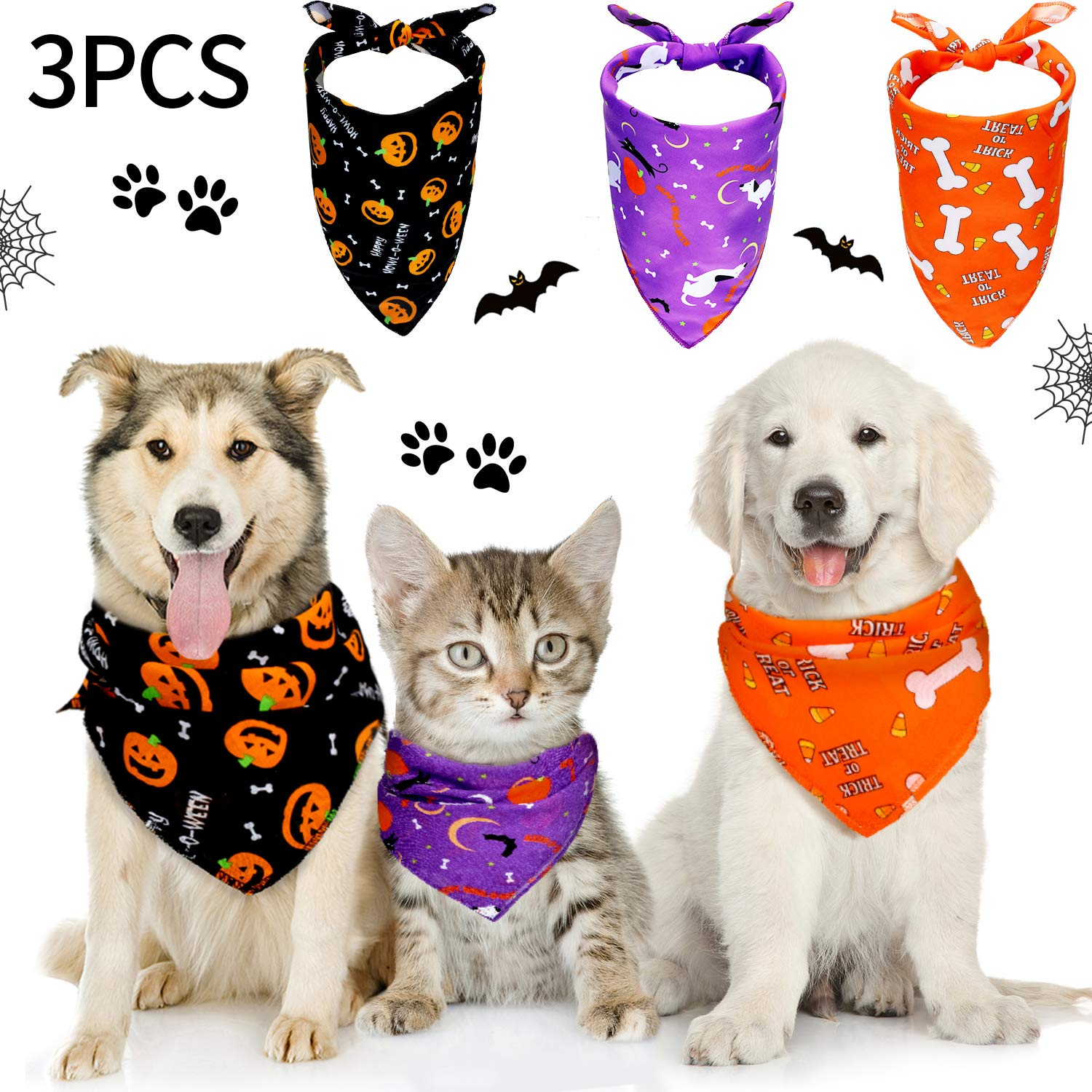 Frienda 3 Pieces Halloween Dog Bandanas Thanksgiving Pet Bandana Pumpkin Pet Scarf Neckerchief Washable Dog Bibs for Dog and Cat  Orange  Purple and Black