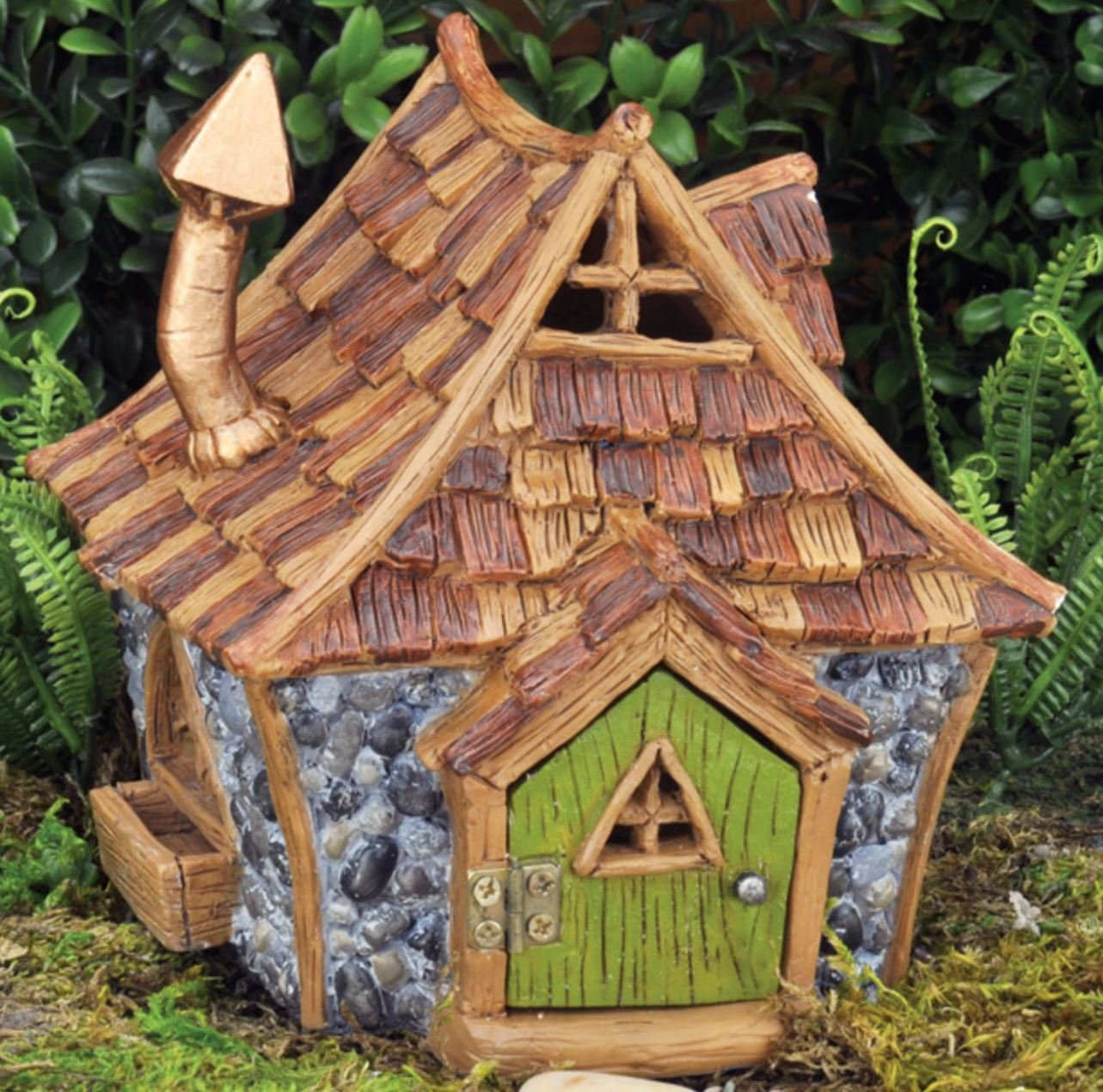 Fiddlehead Fairy Garden Shingletown Cottage House with Door That Opens and Closes