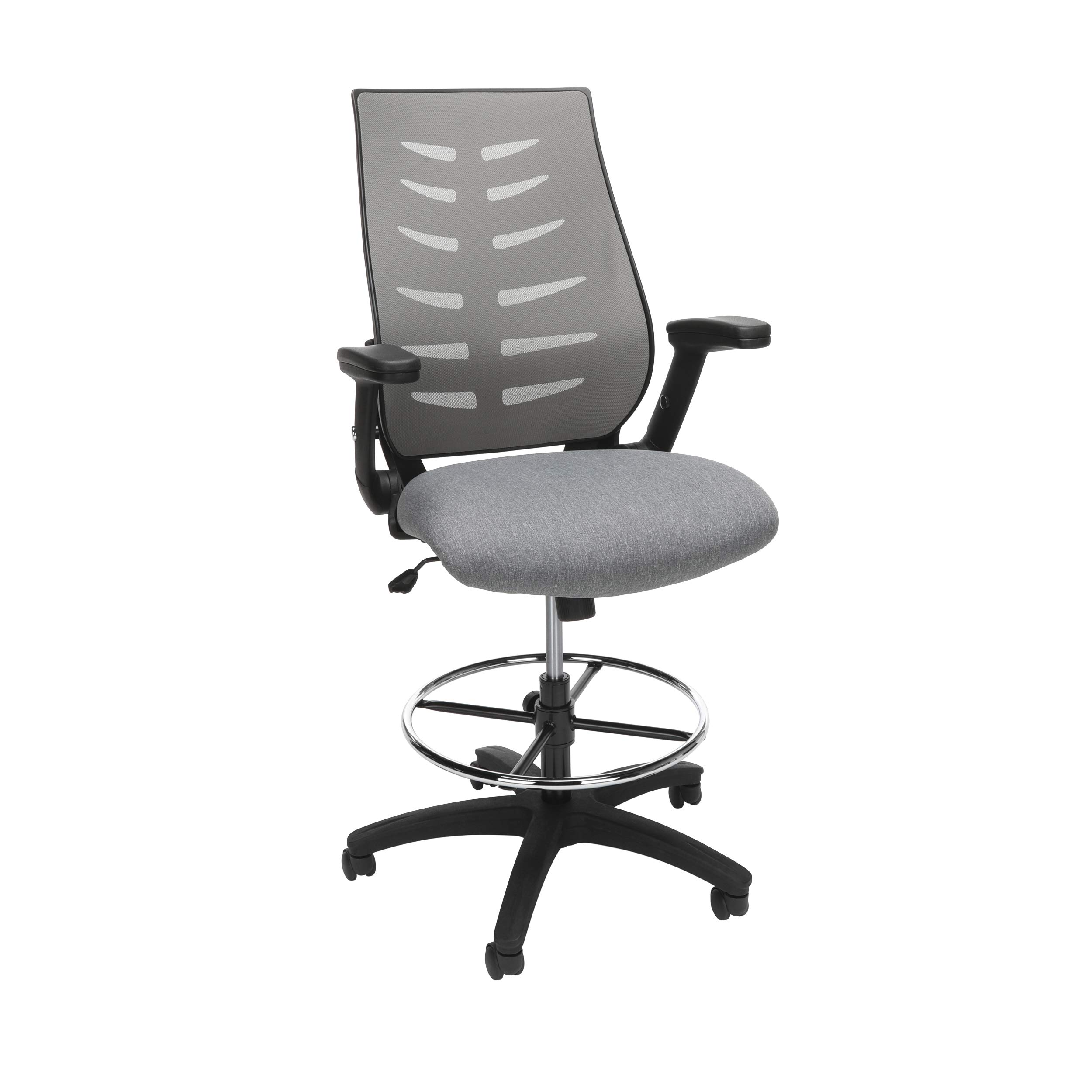 OFM Core Collection Mid Back Mesh Drafting Chair, Drafting Stool, with Lumbar Support, in Gray by OFM