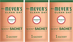 Mrs. Meyer's Clean Day Air Freshening Scent Sachets, Fragrance for Lockers, Cars, and Closets, Geranium Scent, 3 ct