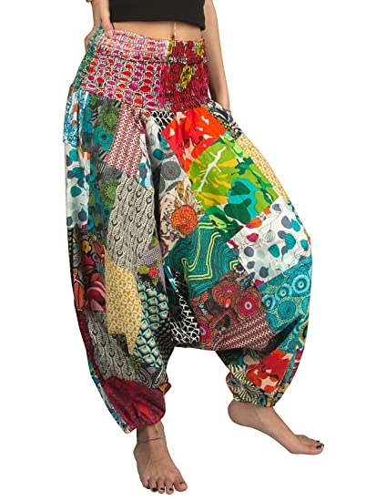 Tribe Azure 100% Algodón Pantalones Harem Colorido para Verano Hippy Yoga Boho Casual A La Moda para Mujer