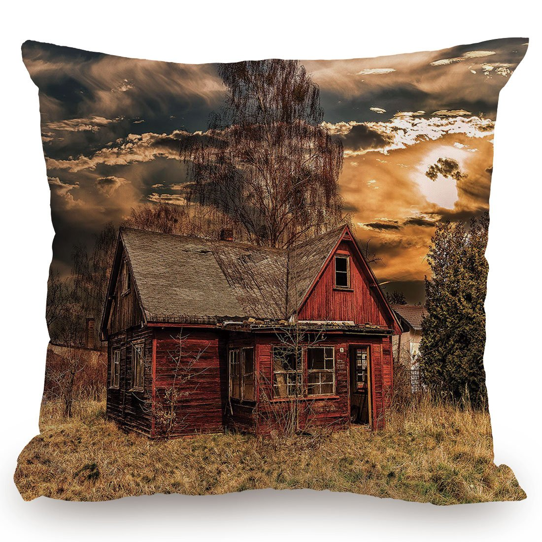 KissCase Throw Pillow Cushion Cover,Scenery Decor,Scary Horror Movie Themed Abandoned House in Pale Grass Garden Sunset Photo,Multicolor,Decorative Square Accent Pillow Case