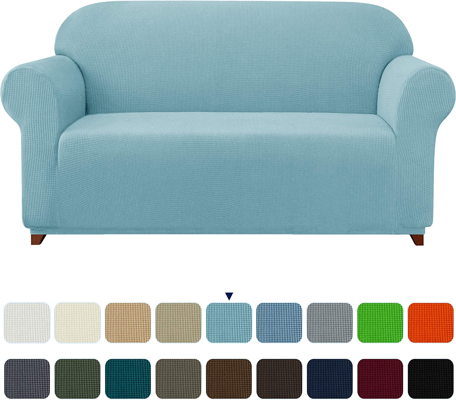 subrtex Stretch Sofa Cover 1-Piece Couch Slipcover Furniture Protector for Arm Chair Loveseat Coat Soft with Elastic Bottom, Polyester and Spandex Jacquard Fabric Small Checks (Large, Steel Blue): Home & Kitchen