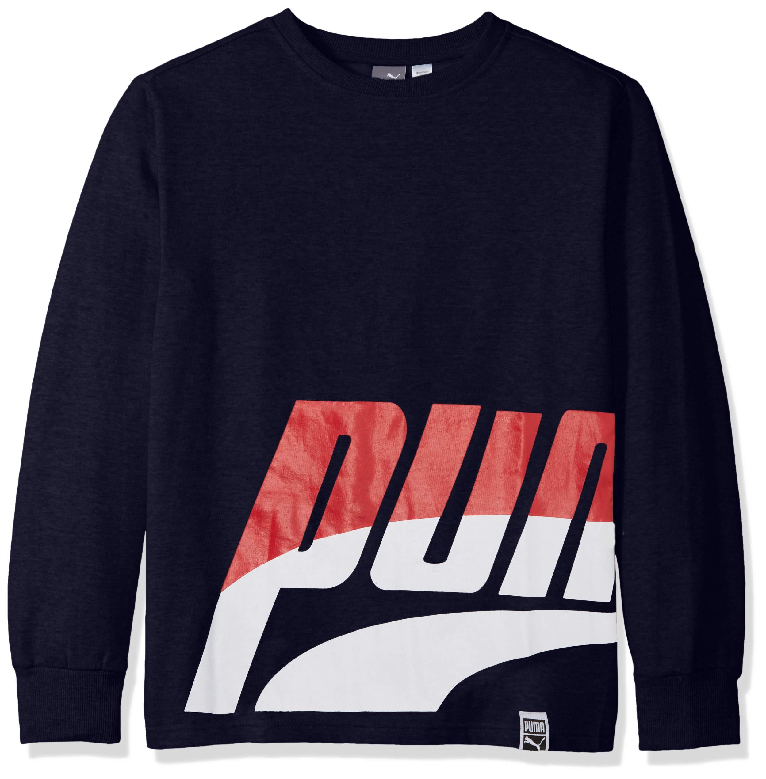 PUMA Big Boys' Fleece Sweatshirt, Peacoat, M