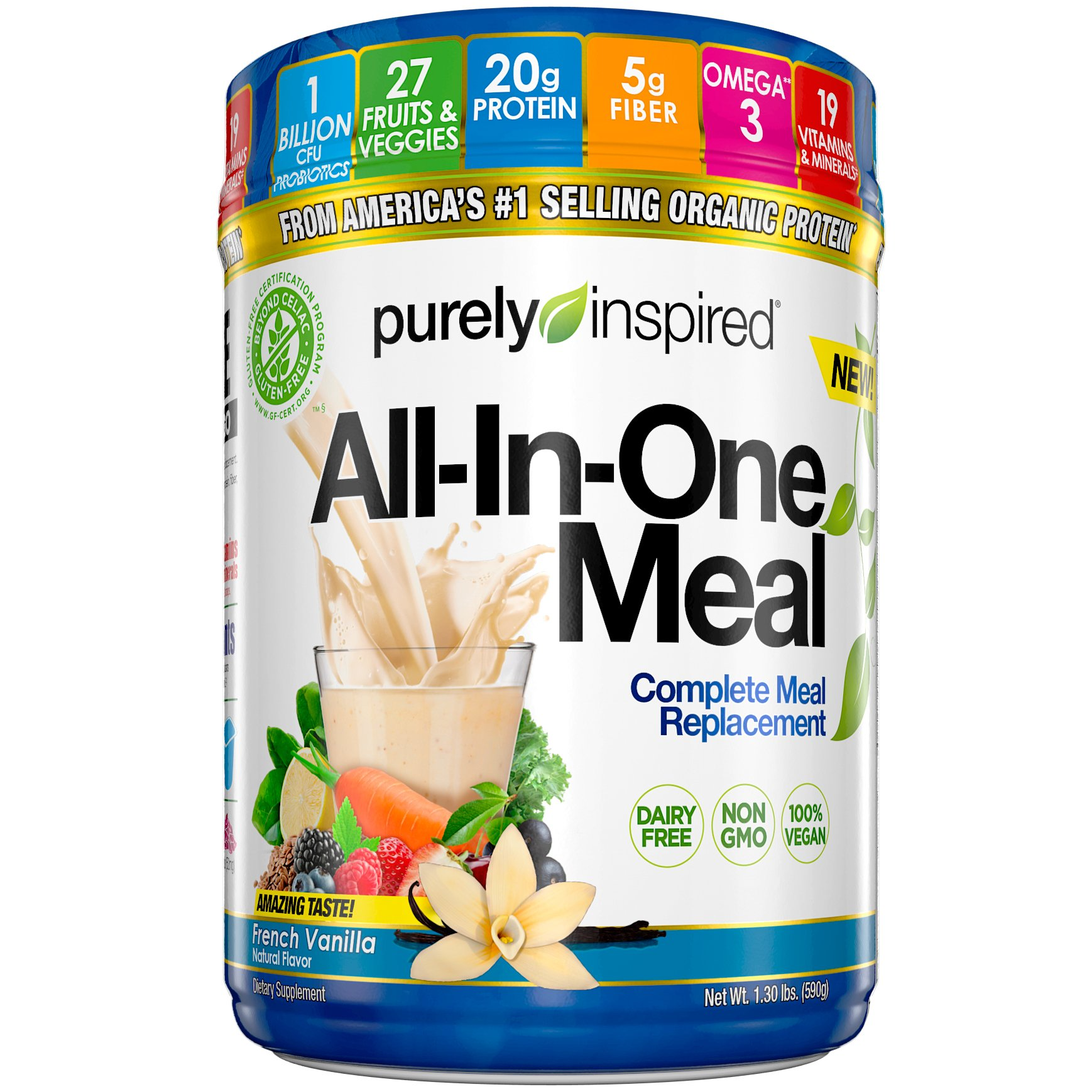 Purely Inspired All-in-One Meal Meal Replacement Shake Powder, Vegan, 20g Protein with Fiber, Vitamins, Minerals & Probiotics, French Vanilla, 15 Servings (1.3lbs) by Purely Inspired
