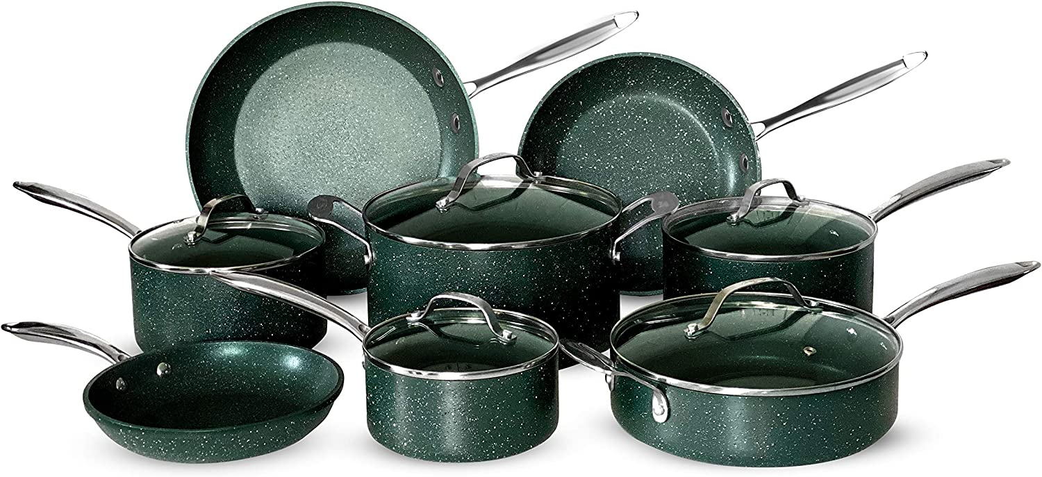 OrGREENiC Diamond Granite 13 Piece ALL in One Cookware Set with Non-stick Ceramic Coating, Included Fry Skillets, Saute Pans, Stock Pots Glass Lids & Saucepans