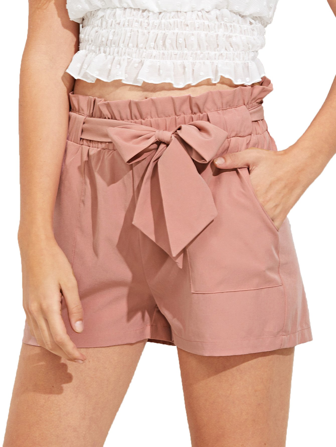 Romwe Women's Casual Elastic Waist Bowknot Summer Shorts with Pockets Pink S