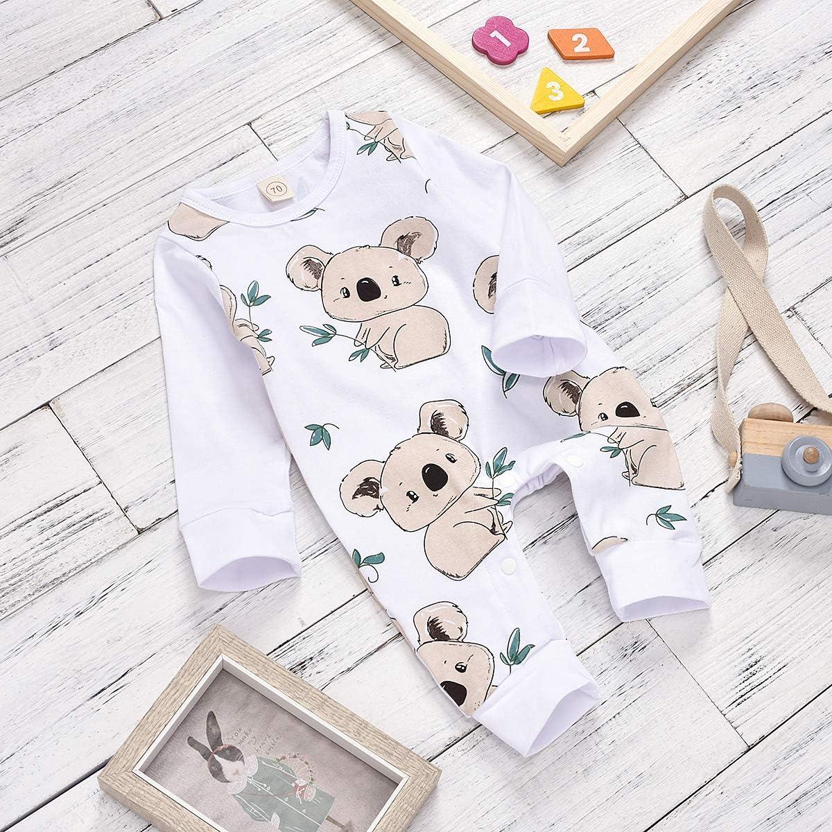 puseky Newborn Baby Boys Girl Romper Long Sleeve Koala Print Jumpsuit Bodysuit Outfits
