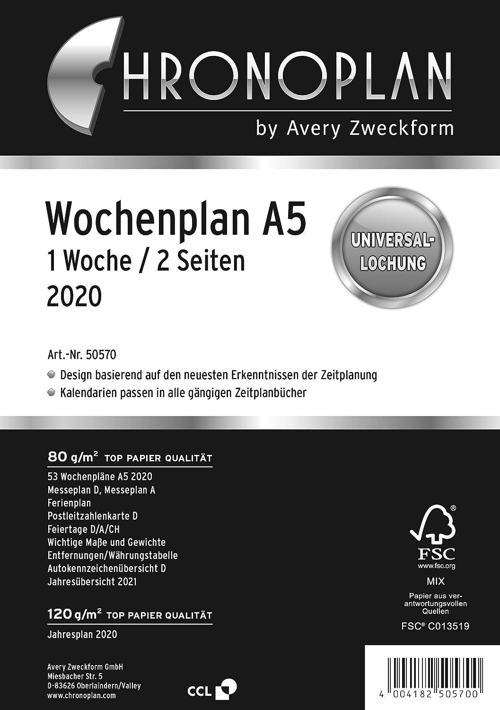 Chronoplan 50570 - Recambio para agenda (2020, formato A5, 1 ...