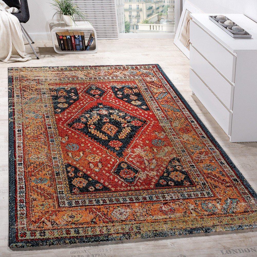Paco Home Designer Teppich Modern Kurzflor Orientalisch Design Schwarz Rot Türkis Beige, Grösse 160x230 cm