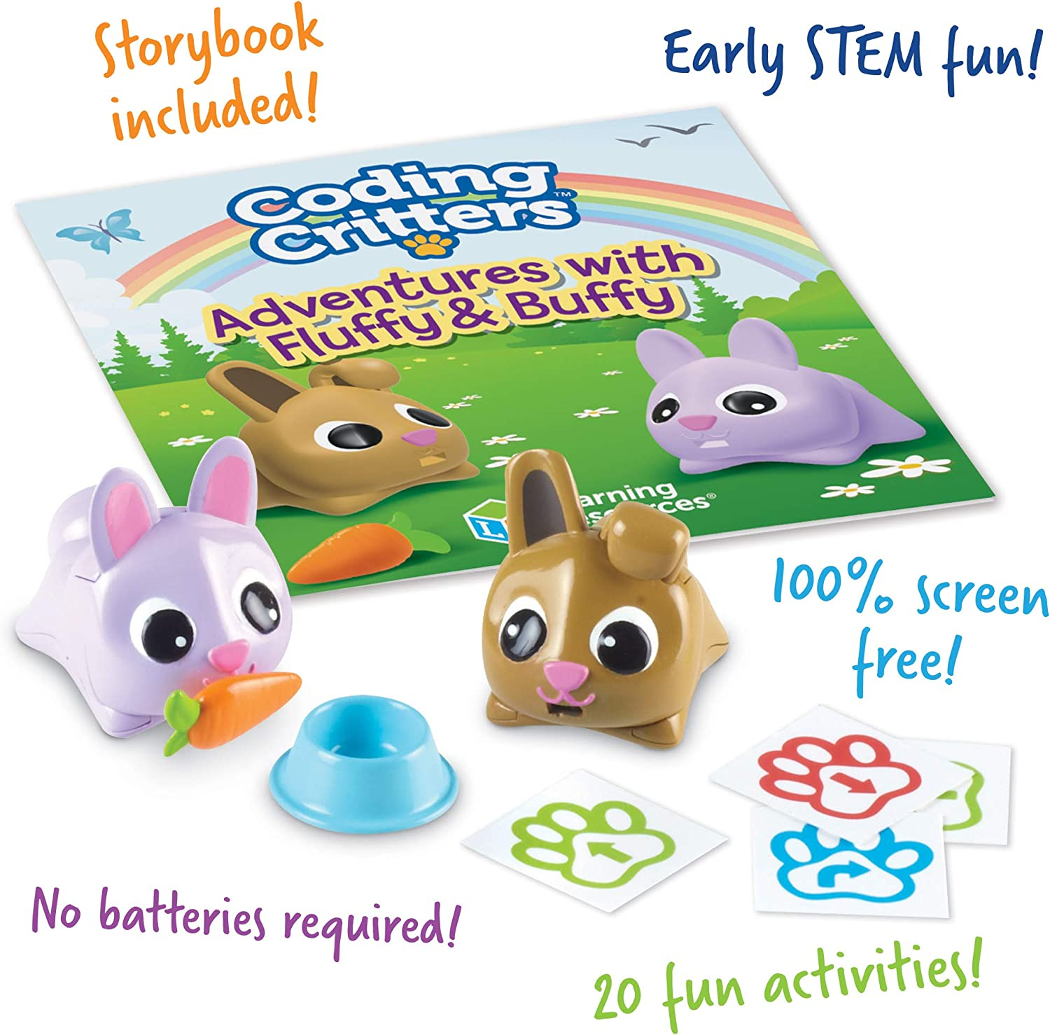 Learning Resources Coding Critters Pair-A-Pets Dogs Hunter /& Scout Interactive Pet Early STEM Coding Toy Ages 4+ Pet Toy