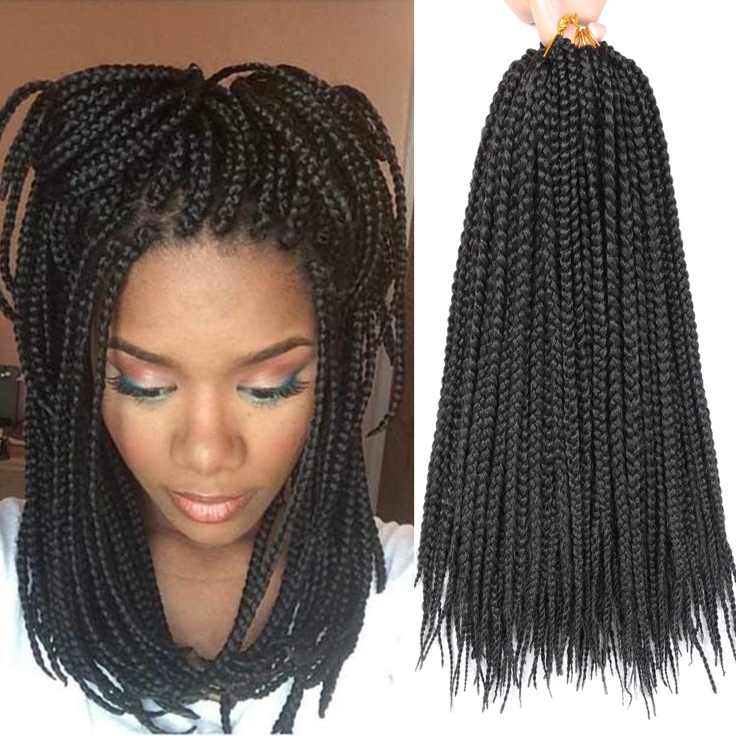 Amazon Com 7 Packs 14 Inch Goddess Box Braids Crochet Hair Short Prelooped Crochet Hair Crochet Braids Box Braid Crochet Hair Crochet Braids Hair For Black Women Jumpo Braiding Hair 14 Inch 1b Beauty