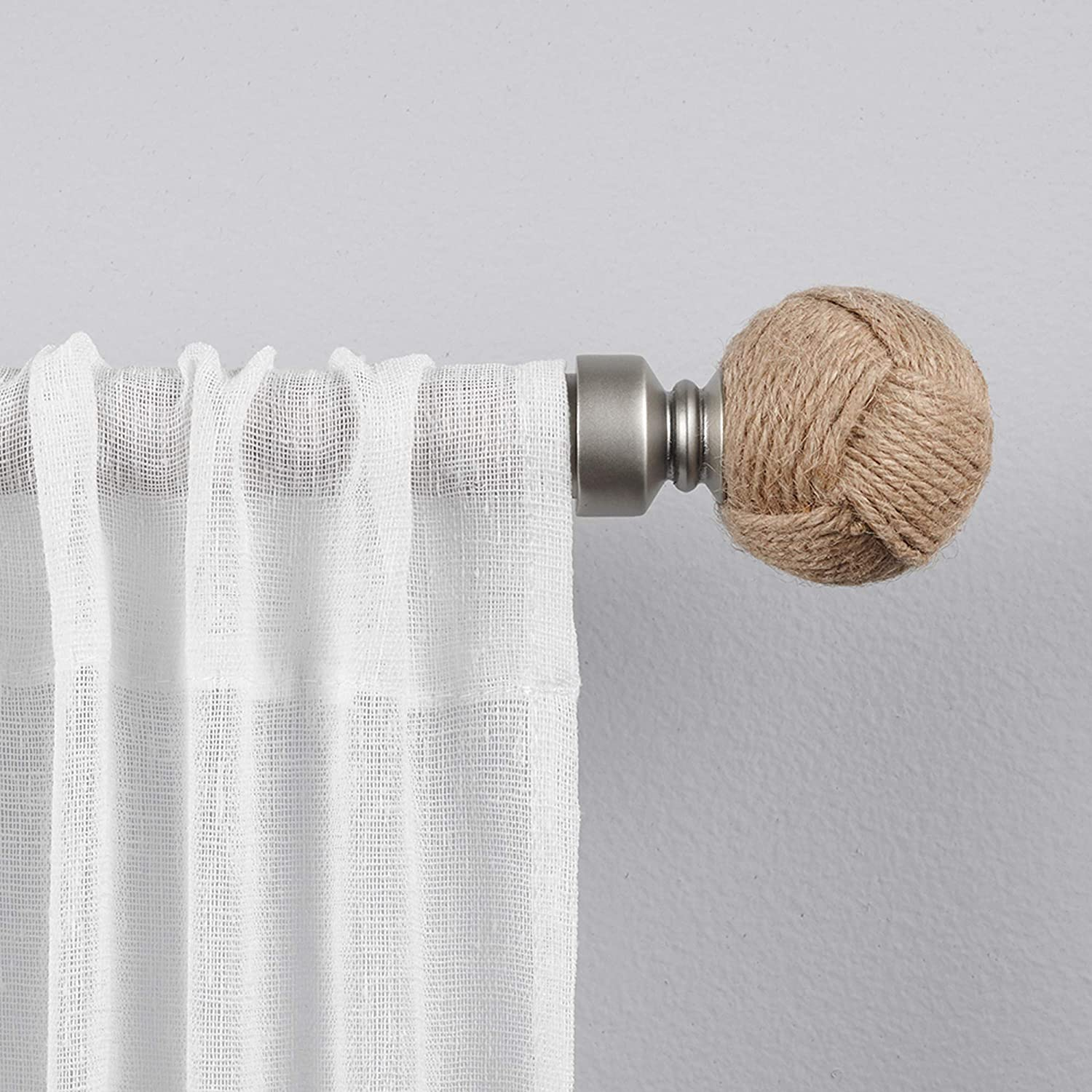 Amazon Com Exclusive Home Curtains Rope Knot 1 Curtain Rod And Finial Set 66 120 Matte Silver Home Kitchen
