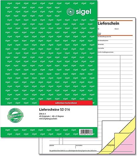 Sigel Sd016 Lieferscheine A4 3x40 Blatt Selbstdurchschreibend 1 Stück Bürobedarf Schreibwaren