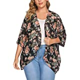 IN'VOLAND Women's Plus Size Kimono Chiffon Sheer Cover Up Open Front Cardigan Lightweight Solid Beach Swim Cover up Blouse