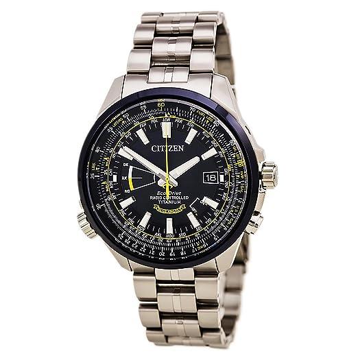 Citizen Eco-drive reloj para hombres de cuarzo dial de color azul y amarillo titanio CB0147 - 59L: Amazon.es: Relojes