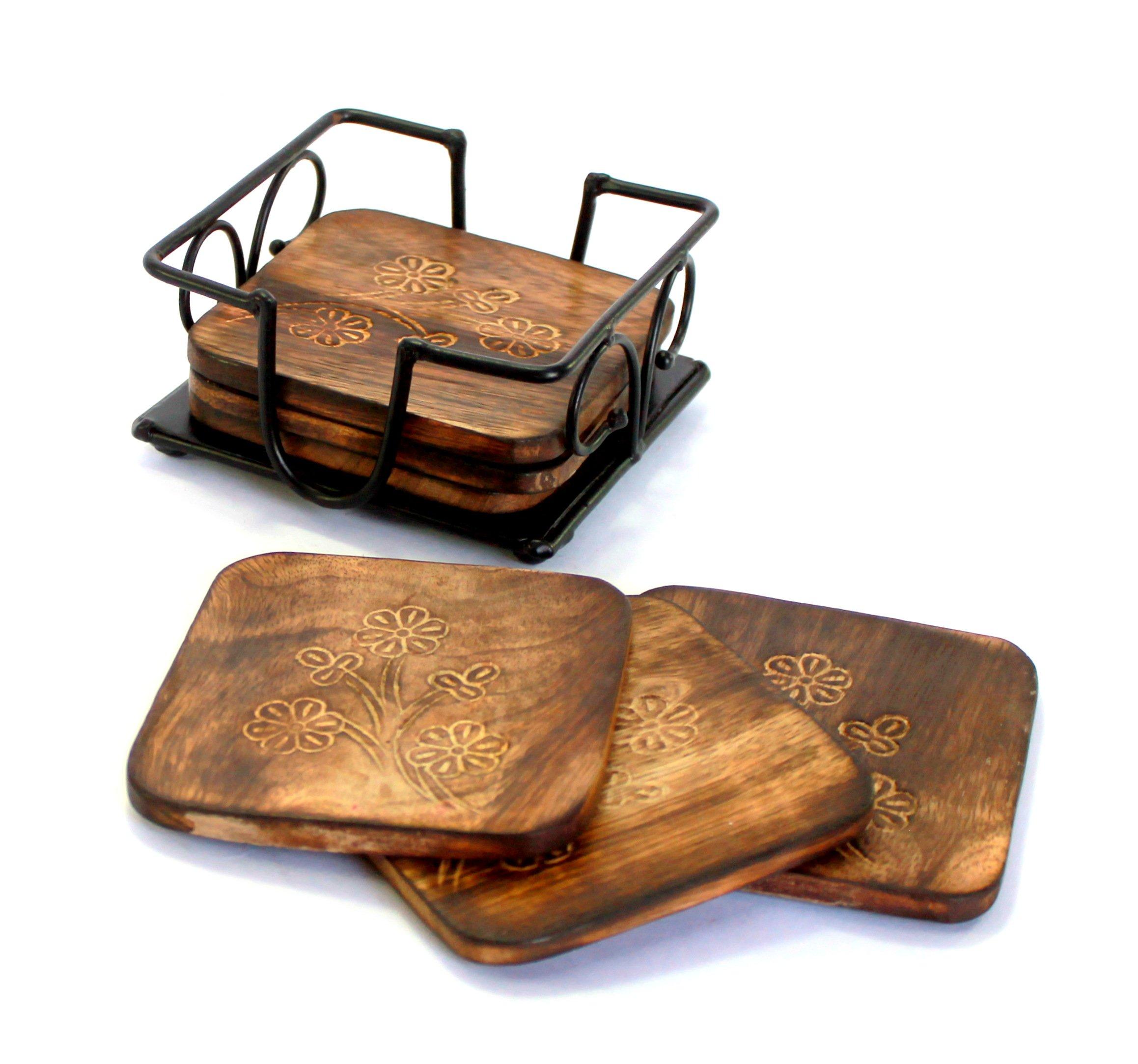 StonKraft Tea Coffee Wooden Coasters Coaster Set Wood Coasters Set (With Iron Holder)