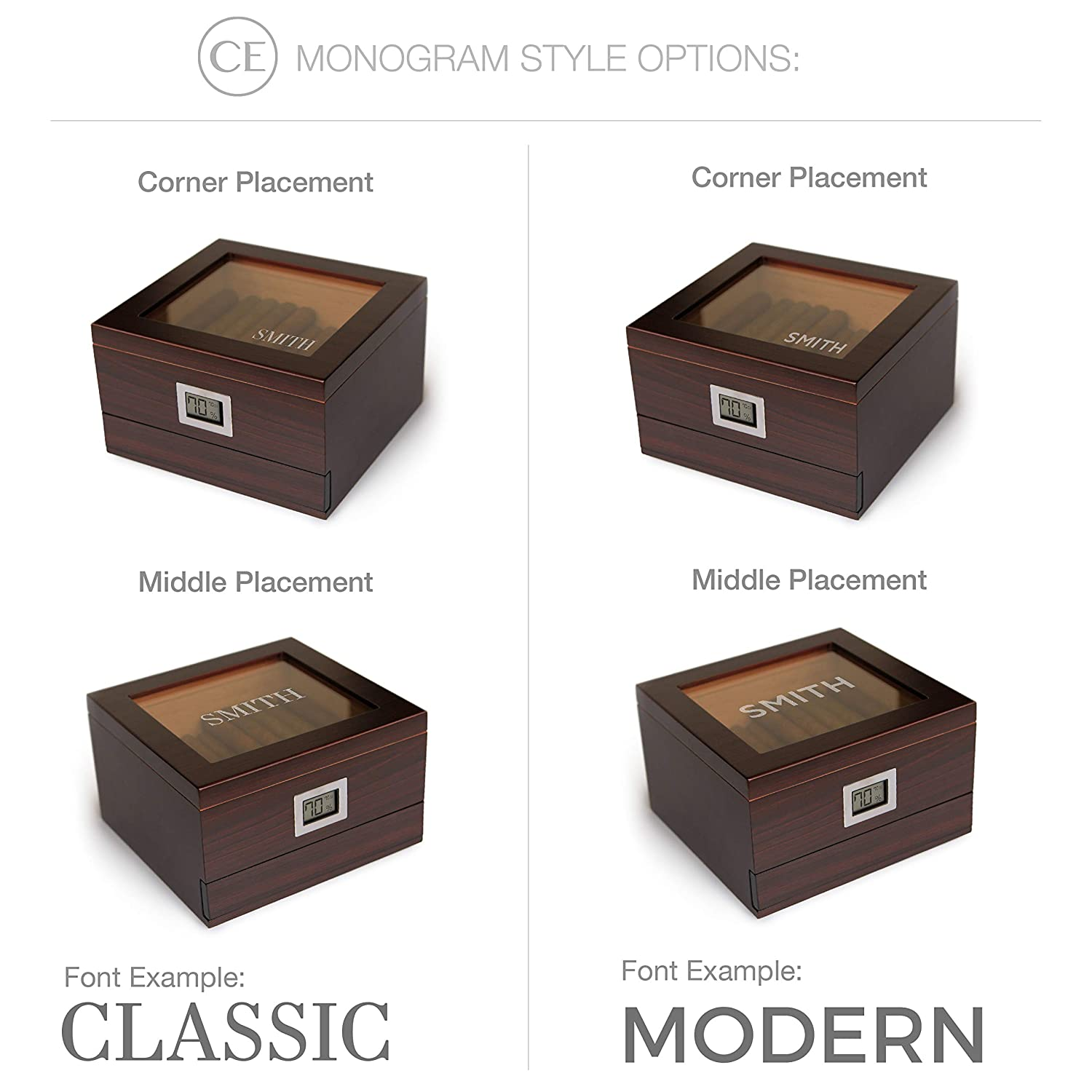 Humidifier Solution and Accessory Drawer Holds by Case Elegance Glass Top Handcrafted Cedar Humidor with Front Digital Hygrometer 25-50 Cigars