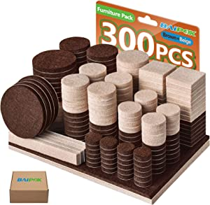 Furniture Pads 300 Pcs Felt Pads Two Colors (Brown 130 + Beige 110), Various Sizes Self Adhesive Furniture Felt Pads, Anti Scratch Floor Protector for Furniture Legs Hard Floor with 60 Cabinet Bumpers