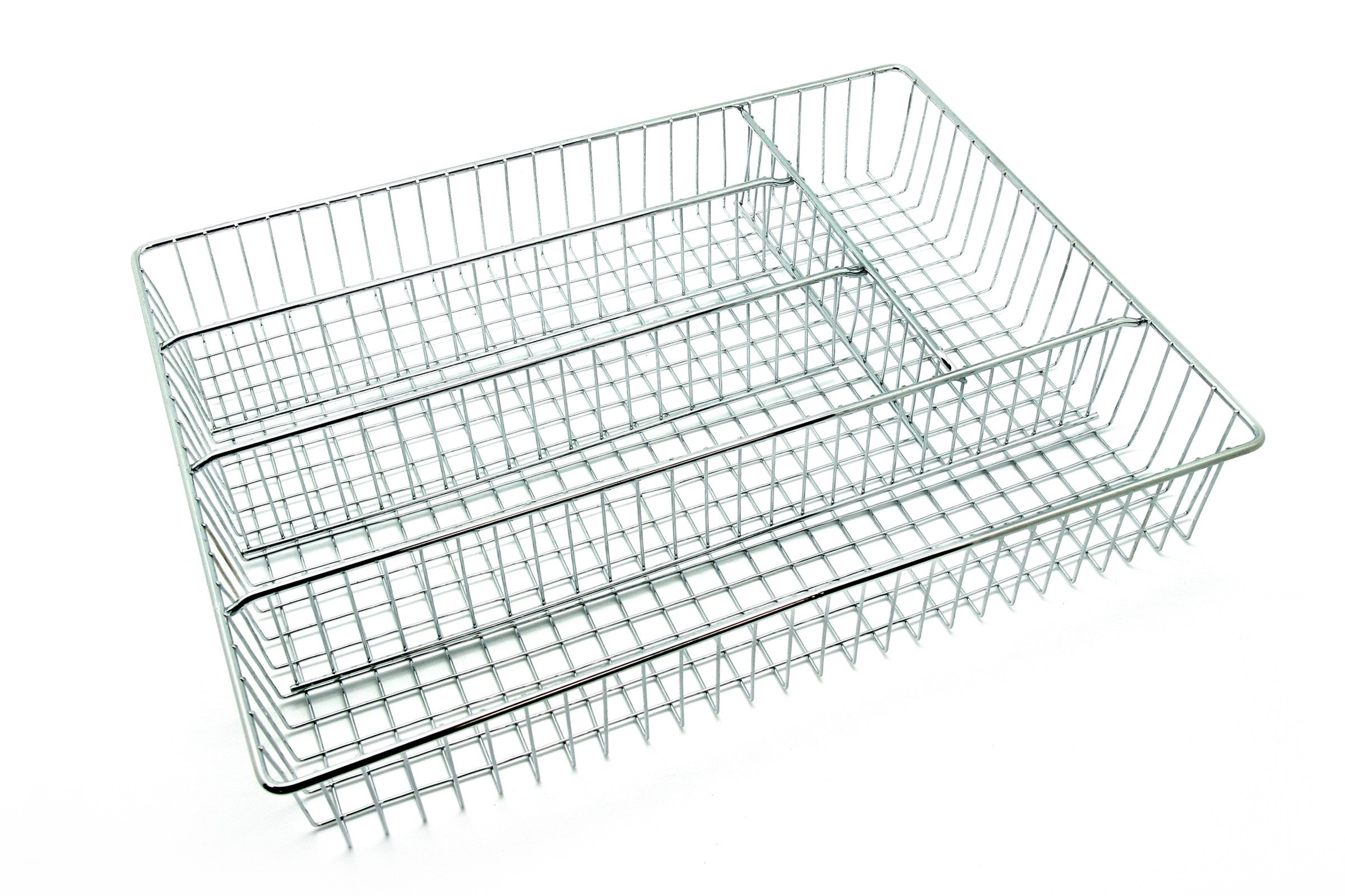Creative Home Deluxe 5 Compartment Chrome Finished Cutlery Tray, Silver