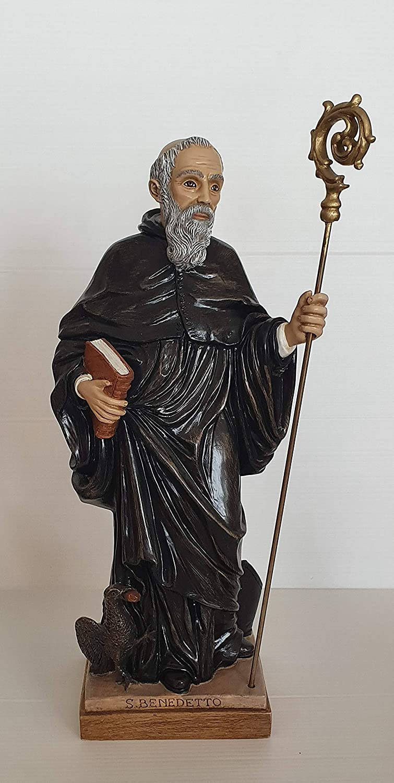 CREART San Benedetto Montecassino 16 cm h - Statua in Resina e Polvere di Marmo