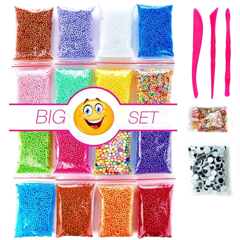 Foam Beads Slime | Micro Floam Beads 18 Pack | Foam Beads for Soft Clay | Colorful Foam Beads DIY Slime | 16 Bags Foam Balls | 250 pcs Fruit Slice | 250 pcs Cute Eyes | 3 Slime Tools | Newest 2018 | I-BARS 4336860744